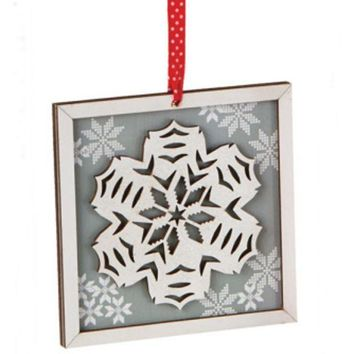 ONETOW 5' Alpine Chic Country Rustic Style Silver and White Glittered Snowflake Framed Christmas Ornament