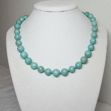 Turquoise Beaded Chunky Big Bead Necklace Large Round 10mm Beads