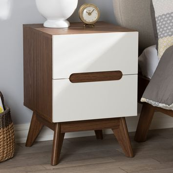 Baxton Studio Calypso Mid-Century Modern White and Walnut Wood 3-Drawer Storage Nightstand Set of 1