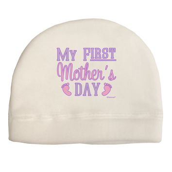 My First Mother's Day - Baby Feet - Pink Adult Fleece Beanie Cap Hat by TooLoud