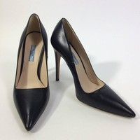 Prada Black Leather Pointed Toe Pump