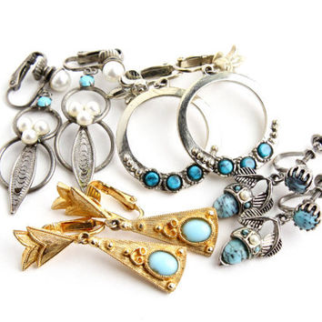 Vintage Clip On Earring Lot - 4 Pairs of Faux Turquoise Dangle Drop Gold & Silver Tone Costume Jewelry / Blue Teal Accents