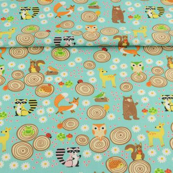 Booksew 100% Cotton Fabric Cute Flowers And Animals Theme For Sewing Dolls Clothing Toys Kids Bedding Curtain Quilting Dress