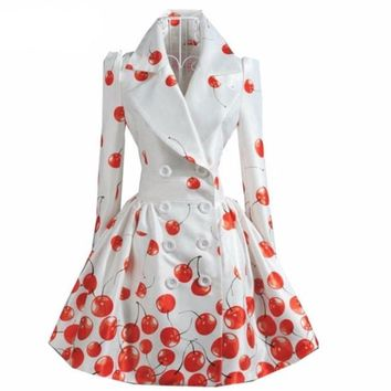 White Peplum  Double Breasted Women Trench Coat