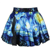 Summer Skirts Womens Pleated Skirts Van Gogh's Starry Night Printed Skirt Saia = 5739017985