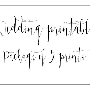 wedding sign package 5 wedding printables wedding signage cards and gifts sign reception sign sweets and treats sign  favors reserved sign