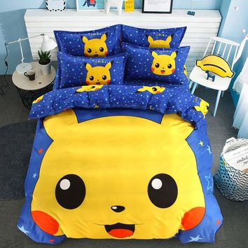 Jingle Cat Bedding Set Pokemon Cartoon Single Bed Duvet Cover Animal for Kids Girls 3pcs Rainbow Bedspreads