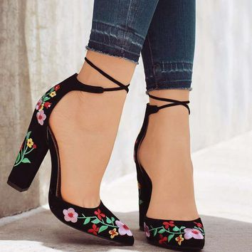 Embroidered Women Pumps High Heels Pointed Toe Lace up Cross-tie Women High Heels Elegant Ladies Shoes Women