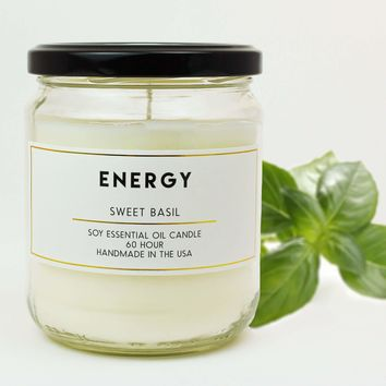 Energy Sweet Basil Scented Soy Jar Candles