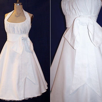 Gorgeous White Cotton Dress with Corded Lace Midriff, Bow and Halter Strap...