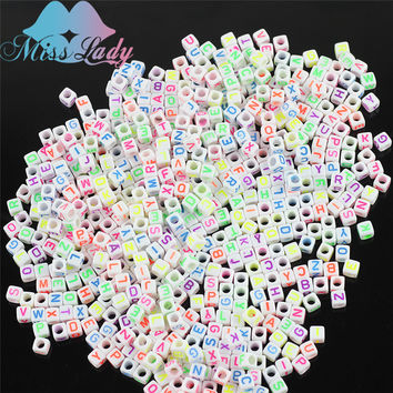 Miss Lady 1000 pcs 10packs/lot Light Glow in the night Bracelet Charms For DIY Loom Bands Cube Beads Acrylic Beads Band MLZ04