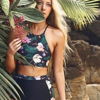 Black high-waisted printed bikini bottoms Hang a neck TWO PIECE BIKINI