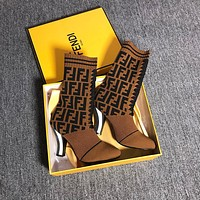 Fendi coloured fabric and ankle boots