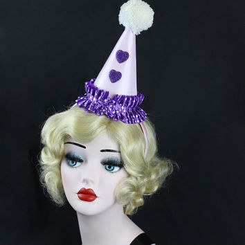Ready to Ship, Purple Clown Hat, Circus Costume, Burlesque, Halloween Costume, Party Hat, Birthdays, Pink, Kids, Adults