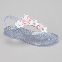 Chatties Clear & Light Pink Daisy Jelly T-Strap Sandal | zulily