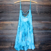 tie dye open back tiered gauze dress