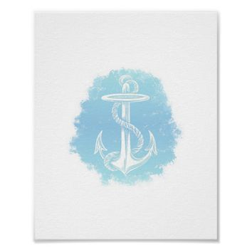 Vintage Anchor Blue Aqua Splash Beach Art Print