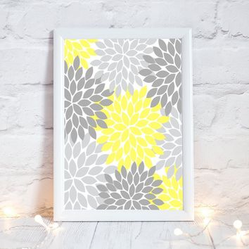 YELLOW GRAY Flower Wall Art, Bedroom Pictures, CANVAS or Prints Yellow Gray Bathroom Decor, Flower Burst Dahlia Floral Art 1 Home Decor