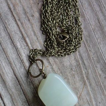 Minimalist green natural jade long necklace, gemstone pendant chain necklace NEW