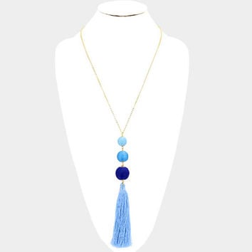 Blue Ombre and Gold Triple thread Pom Pom ball & tassel drop long necklace