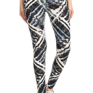 Black Blue Gray Tie Dye Print Yoga Band Leggings