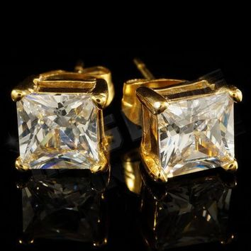 18k Gold Plated Stainless Steel Silver Iced Out Cubic Zirconia Box Stud Earrings