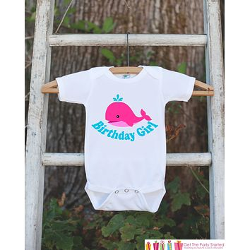Birthday Girl Whale Bodysuit - Under The Sea Bodysuit For Girl's Birthday Party - Preppy Whale Onepiece Birthday Outfit - Ocean Birthday
