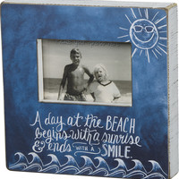 A Day At The Beach Begins With A Sunrise & Ends With A Smile - Chalk Beach Box Photo Frame 10-in Blue for 4x6-in Photo