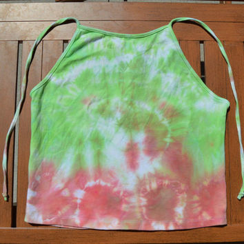 LARGE Coral / Lime Green Crop Tie Dye Halter Top