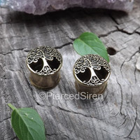 Antique brass plug earrings tree of life design inlay ear tunnel double flare tunnel gauges stretched earlobes jewelry pierced ear 0g plugs