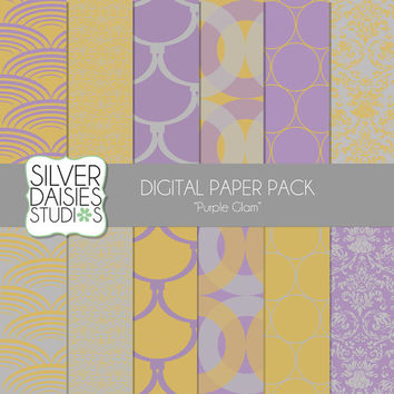 """Purple Glam Digital Paper 12 Pack- 12""""x12"""" - INSTANT DOWNLOAD - glamorous Christmas Themed Set - Digital Scrapbooking - silver, gold paper"""