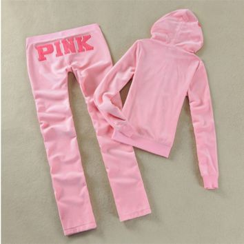Victoria Pink 86 Velvet leisure sport suit sportswear Light Pink