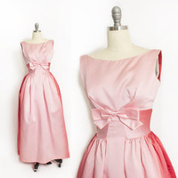Vintage 1960s Dress - Lorrie Deb OMBRE Pink Satin Full Length Gown Party Prom 60s - XS Extra Small