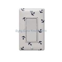 Anchor Rocker Decora Light Switch Plate Cover / Nautical Nursery Bathroom Decor / Boys Girls Room / White Navy Blue