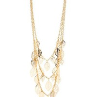 Gold Tiered Leaf Layered Necklace by Charlotte Russe