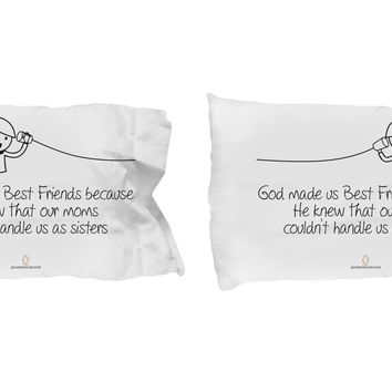Set of 2 Best Friends Pillowcase, Best Friend Gifts, Funny Sayings Pillowcases