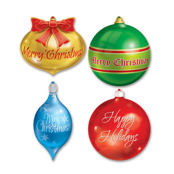 "Pkgd Christmas Ornament Cutouts 13 1/2""""-16 1/2"""" (4 Ct)- Pack of 12"