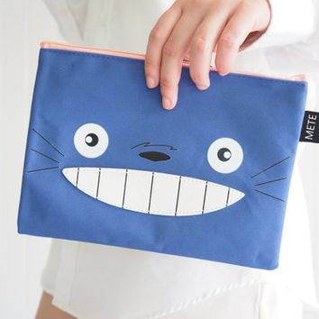 Super Cute Blue Totoro iPad mini sleeve / iPad mini case / iPad mini cover , Cute Totoro Case, with Zip, Handmade ipad case,  totoro bag