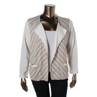 Style & Co. Womens Plus Open Front Striped Cardigan Sweater