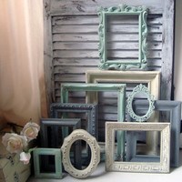 Mint Green and Gray Painted Picture Frames, Set of 10 Vintage Frames, Sea Glass Green, Grey and Ivory Frames, Shabby Chic Ornate Frames