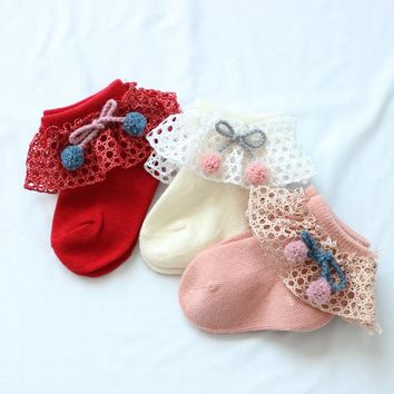 Newborn Girl Socks Lace Ruffle Frilly Ankle Socks Baby Girls Princess Socks Cotton Baby Girl Stuff Cherry Sweet Socks Kids Bebe