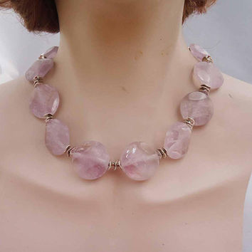 Fluorite Necklace, Chunky Fluorite Necklace, Lavander Fluorite Necklace, Fluorite Jewellery, Gift for Her