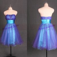 2014 short purple and blue tulle homecoming dress,chic cute prom dresses with sequins,cheap women gowns for holiday party.