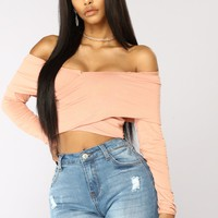 Feel Good Cropped Off Shoulder Top - Peach