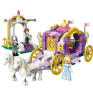 ENLIGHTEN City Girls Princess Violet Royal Carriag Car Building Blocks Sets Bricks Model Kids Toys Compatible Legoings Friends