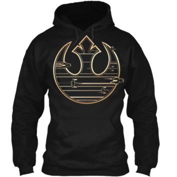 Star Wars Last Jedi Gold Platinum Rebel Fleet Logo T-Shirt Pullover Hoodie 8 oz