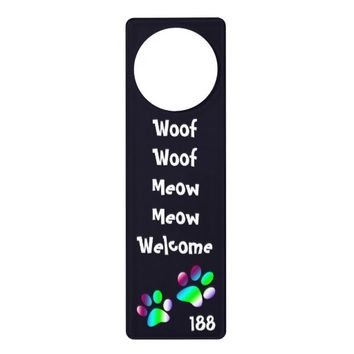 Cute Pet Dog Cat Foot Prints Welcome Text Custom Door Hanger