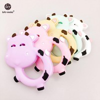 Let's Make Baby Accessories Silicone Teether Dairy Cows 10pc Milk Cows Teething Baby Shower DIY Necklace Pendants Baby Teether