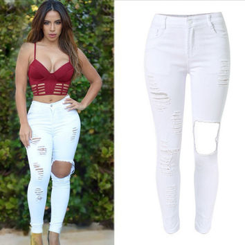 White Hole Pattern Elastic Waist Denim Pants