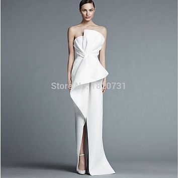 Unique Strapless White Evening Dresses Long Satin Fashion Evening Dress High Slit Women Formal Dresses Gowns For Party